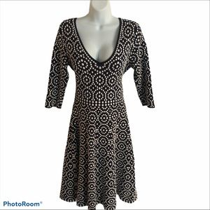 Boden Annabel Navy White Fit Flare Knit Dress 12